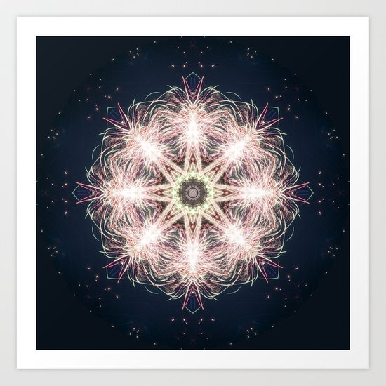 New year colorful sparkly fireworks mandala Art Print
