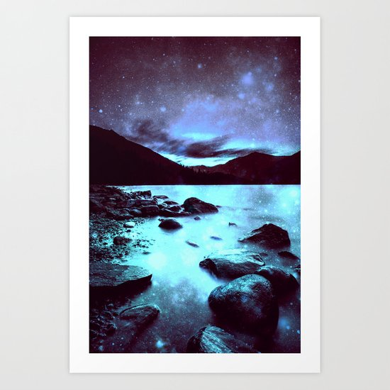 Magical Mountain Lake Violet Aqua Art Print