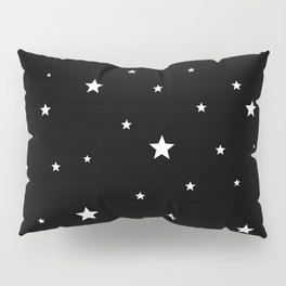 Scattered Stars - white on black Pillow Sham