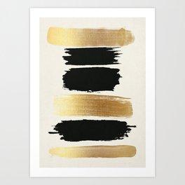 Brush Strokes (Black/Gold) Art Print