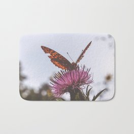 Aphrodite Fritillary Butterfly on Thistle Photography Bath Mat