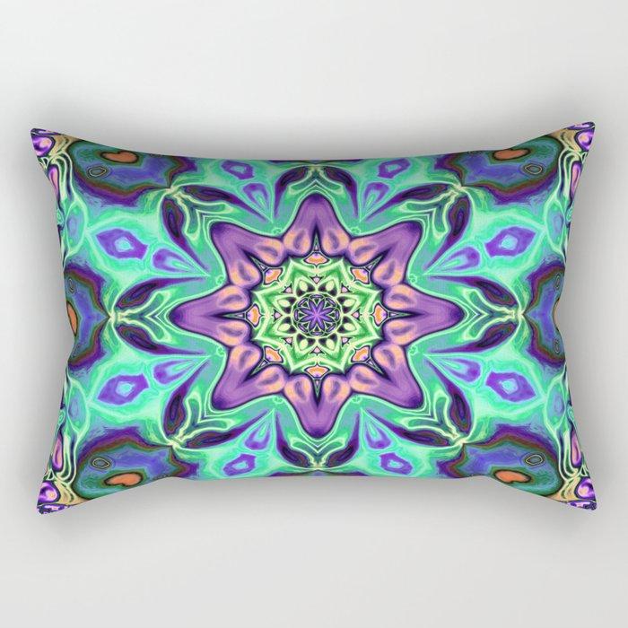 Turquoise Mandala Abstract Rectangular Pillow
