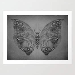 Butterfly skulls 4 Art Print