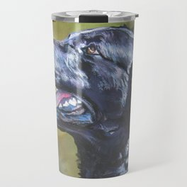 A Curly-Coated Retriever dog portrait from an original painting by L.A.Shepard Travel Mug