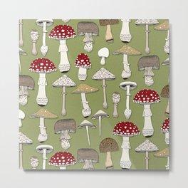 mushrooms fern green Metal Print