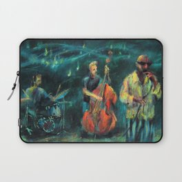 Singer and double bass jazz musicians at night Laptop Sleeve