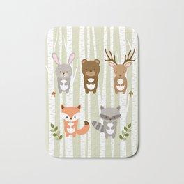 Cute Woodland Forest Animals Bath Mat