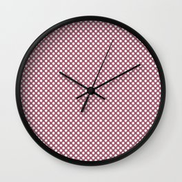 Rose Wine and White Polka Dots Wall Clock