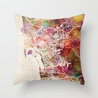 san diego Throw Pillows featuring San Diego by MapMapMaps.Watercolors