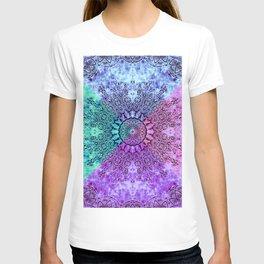 India Pattern Mandala Cloudy Clotting Blue Pink Purple Teal T-shirt