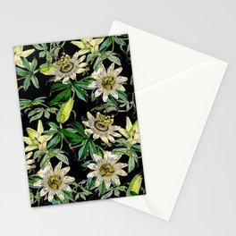 Vintage & Shabby Chic- Retro Passiflora Caerulea Pattern Stationery Cards