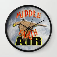 middle earth Wall Clocks featuring darrell merrill nerd artist: middle earth air by Nerd Artist DM