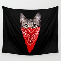 gangster Wall Tapestries featuring Gangster Cat by clingcling