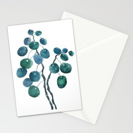 Chinese money plant watercolor Stationery Cards