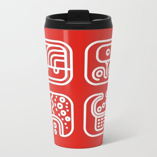 Mayan Glyphs ~ ABSTRACT Metal Travel Mug