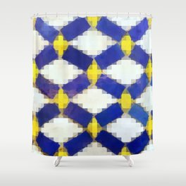 Sand and Aged Moroccan Mosaic Tiles Shower Curtain