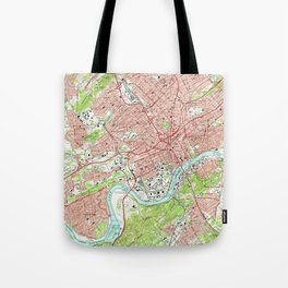 Vintage Map of Knoxville Tennessee (1966) Tote Bag