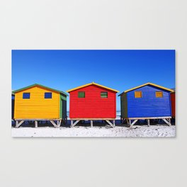 Beach Cabins in South Africa Canvas Print