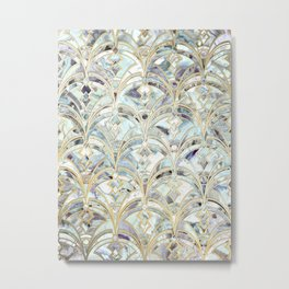 Pale Bright Mint and Sage Art Deco Marbling Metal Print