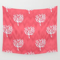 coral Wall Tapestries featuring Coral by Marta Li