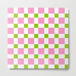 square and tartan 76- green and pink Metal Print