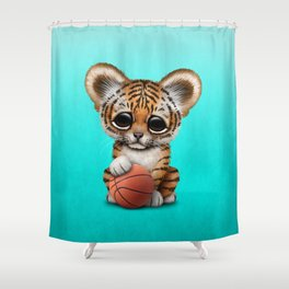 Tiger Cub Playing With Basketball Shower Curtain