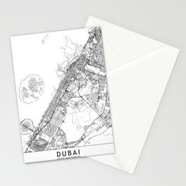 Dubai White Map Stationery Cards