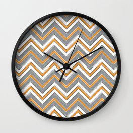 Chevron Pattern | Zig Zags | Orange, Grey, Black and White | Wall Clock