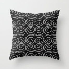 Frosty Black and White Pattern Throw Pillow