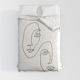 One Line Art Faces Sketch Comforters