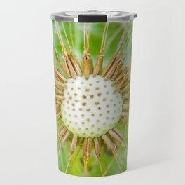 Closeup shot of a dandelion blowing seeds blowing away Travel Mug