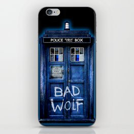 Phone box doctor with Bad wolf graffiti iPhone Skin