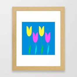 Tulips In Spring Time - Yellow & Bright Pink - Tulips in Springtime series Framed Art Print