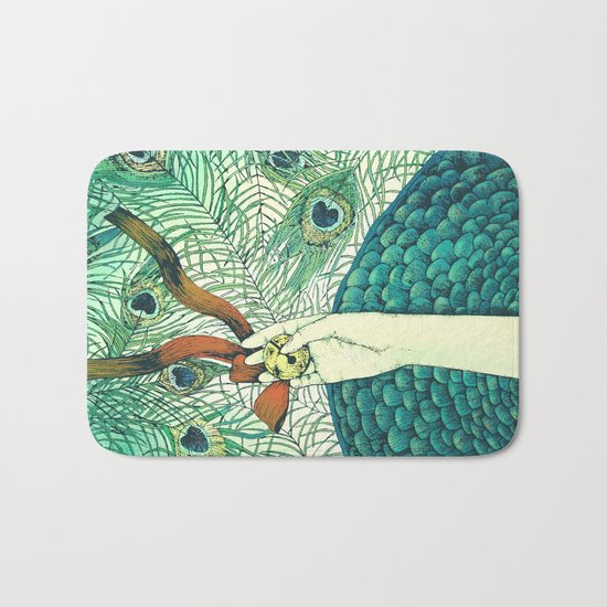 Golden bell and peacock feathers Bath Mat