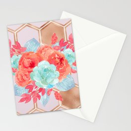 Blush pink hexagons succulent bouquet Stationery Cards