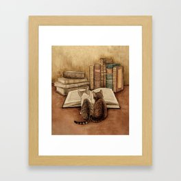 Kittens Reading A Book Framed Art Print