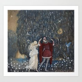 Lena dances with the knight  by John Bauer, 1915 Art Print