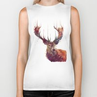 white Biker Tanks featuring Red Deer // Stag by Amy Hamilton