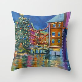 Night lights Amsterdam cityscape, Dutch landscape, oil painting Throw Pillow