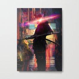 Shogun in Neon City Metal Print