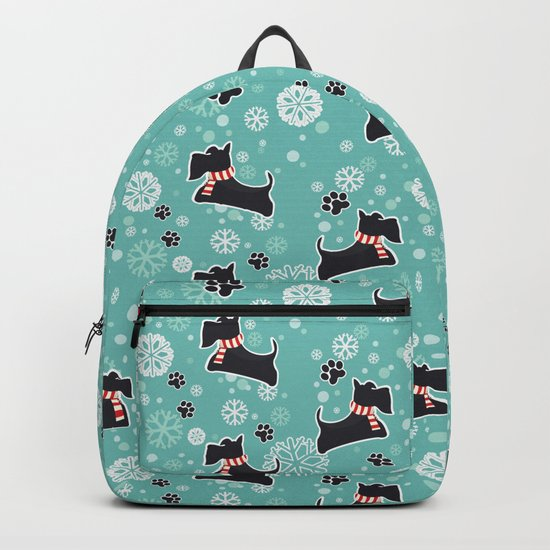 Snowy Scottie Dog Christmas Pattern Backpack