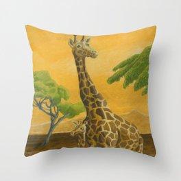 Giraffes at Sunset Throw Pillow