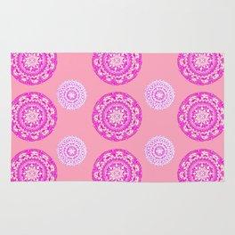 Salmon, Pink, and Purple Patterned Mandalas Rug