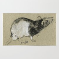 rat Area & Throw Rugs featuring Rat by Freeminds