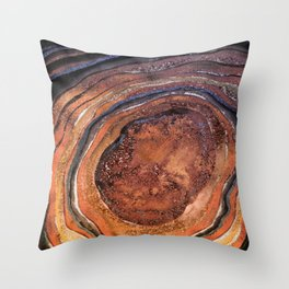 Hand drawn Watercolor Copper Glitter Stone and Ink Abstract Gem Glamour Marble Throw Pillow