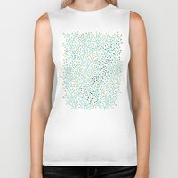 laptop Biker Tanks featuring Berry Branches – Turquoise & Gold by Cat Coquillette