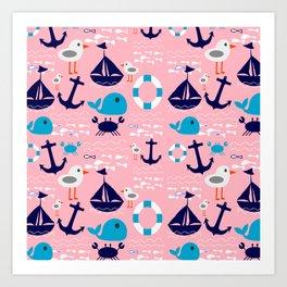 Summer boat pink Art Print