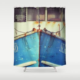 old blue boat Shower Curtain