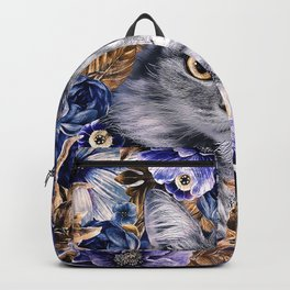 Cat in Flowers. Autumn Backpack