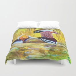 Colorful Mandarin Duck Floating on the water Duvet Cover